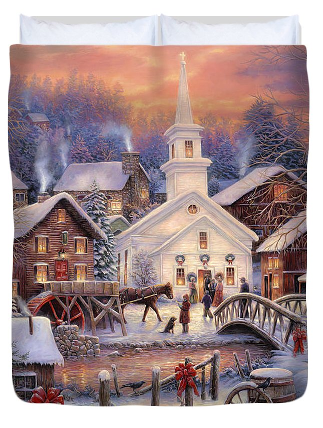 Snow Village Duvet Cover featuring the painting Hope Runs Deep by Chuck Pinson