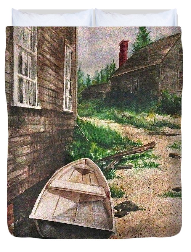 Boat Duvet Cover featuring the painting 8. Perhaps The Next Time by Elaine Wilson
