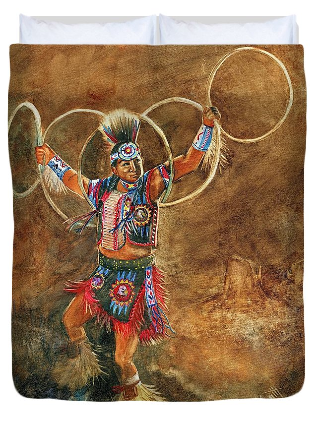 Hopi Hoop Dancer Duvet Cover featuring the painting Hopi Hoop Dancer by Marilyn Smith