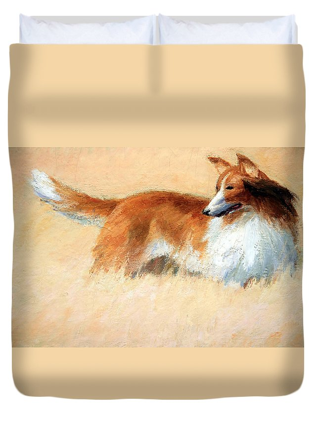 Duvet Cover featuring the photograph Hopper's Cape Cod Evening -- The Dog by Cora Wandel