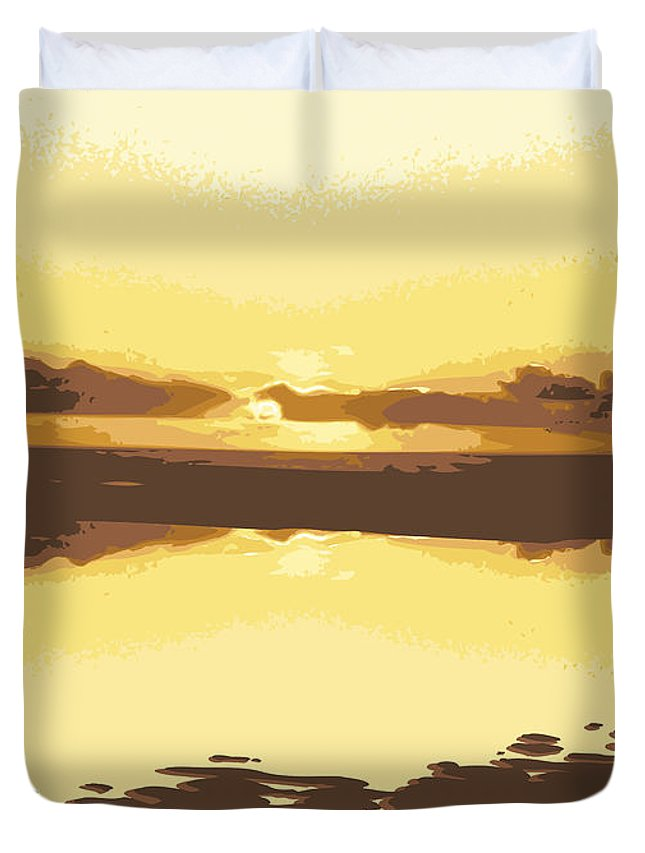 Fusionart Prints Duvet Cover featuring the digital art Horizon 2 by David Hargreaves