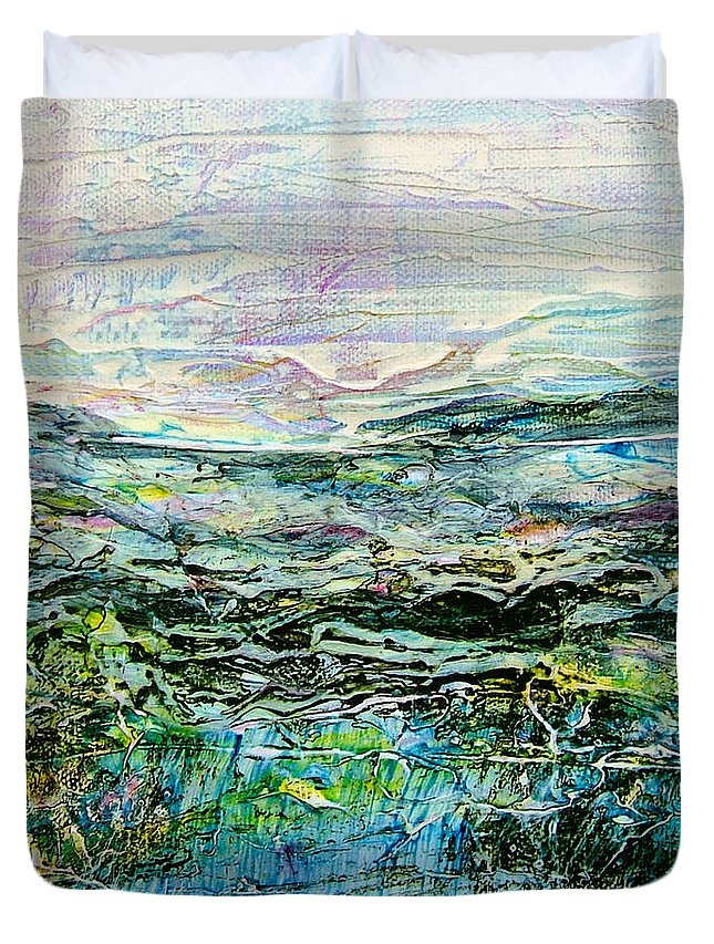 Square Canvas Duvet Cover featuring the painting Horizon Id# C-0820 by Shirley Williams