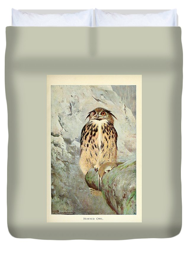 Horned Duvet Cover featuring the painting Horned Owl by Philip Ralley