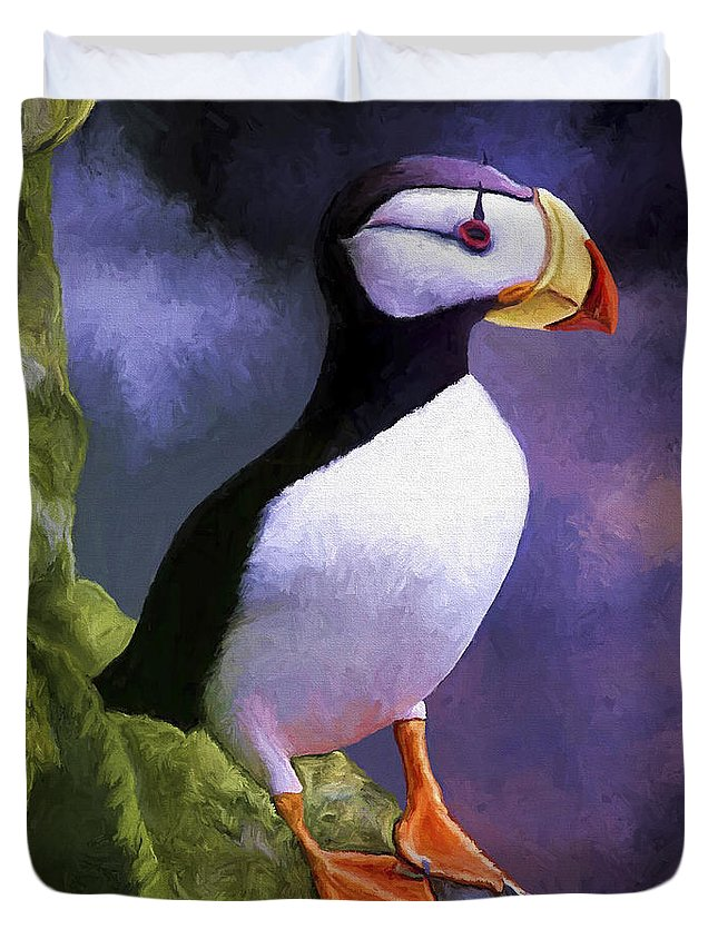 Animal Duvet Cover featuring the painting Horned Puffin by David Wagner