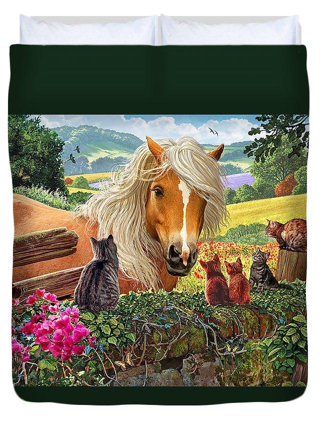 Steve Crisp Duvet Cover featuring the photograph Horse And Cats by Steve Crisp