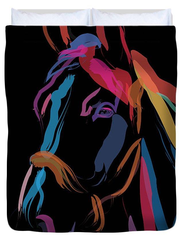 Horse Portrait Duvet Cover featuring the painting Horse-colour Me Beautiful by Go Van Kampen