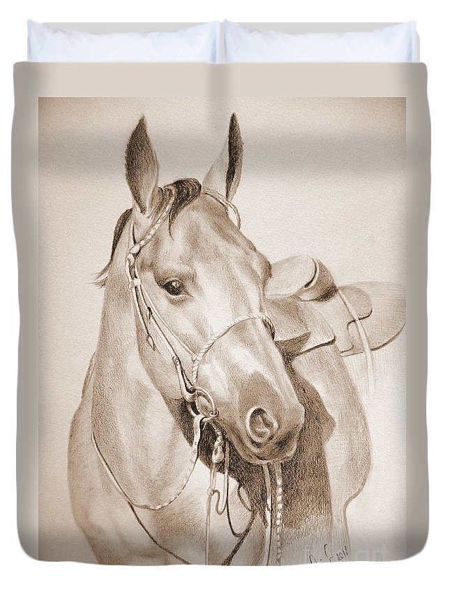 Horse Duvet Cover featuring the drawing Horse Drawing by Eleonora Perlic