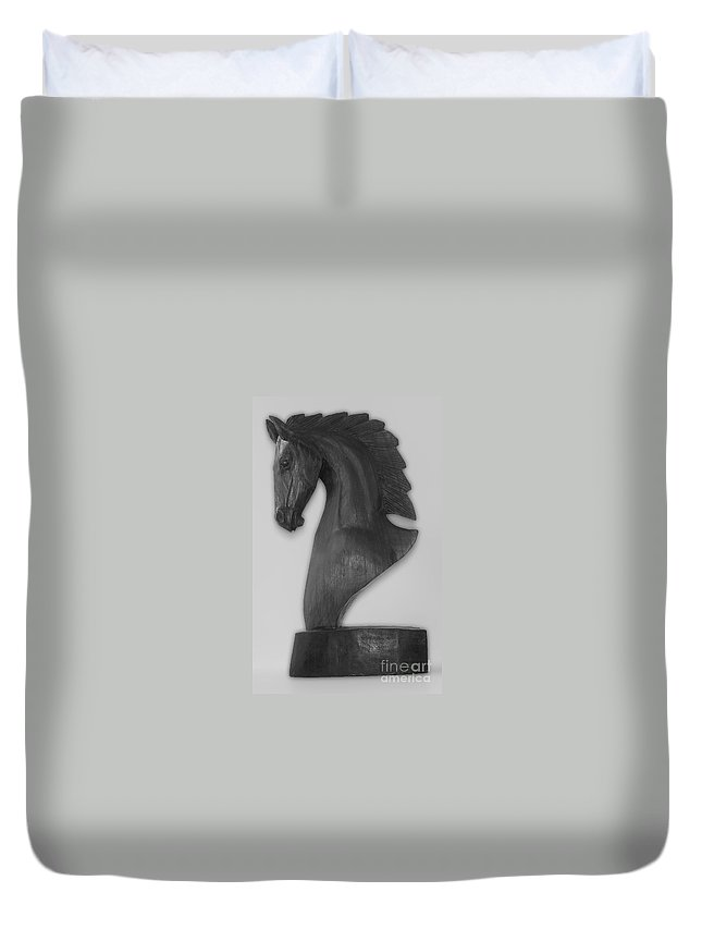 Horse Duvet Cover featuring the photograph Horse Head Sculpture Black And White by Photos By Cassandra