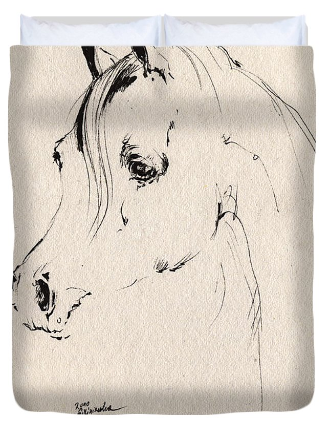 Horse Duvet Cover featuring the drawing Horse Head Sketch by Angel Ciesniarska