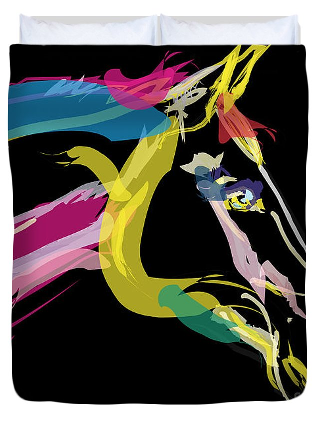 Horse Portrait Duvet Cover featuring the painting Horse- Lovely Colours by Go Van Kampen
