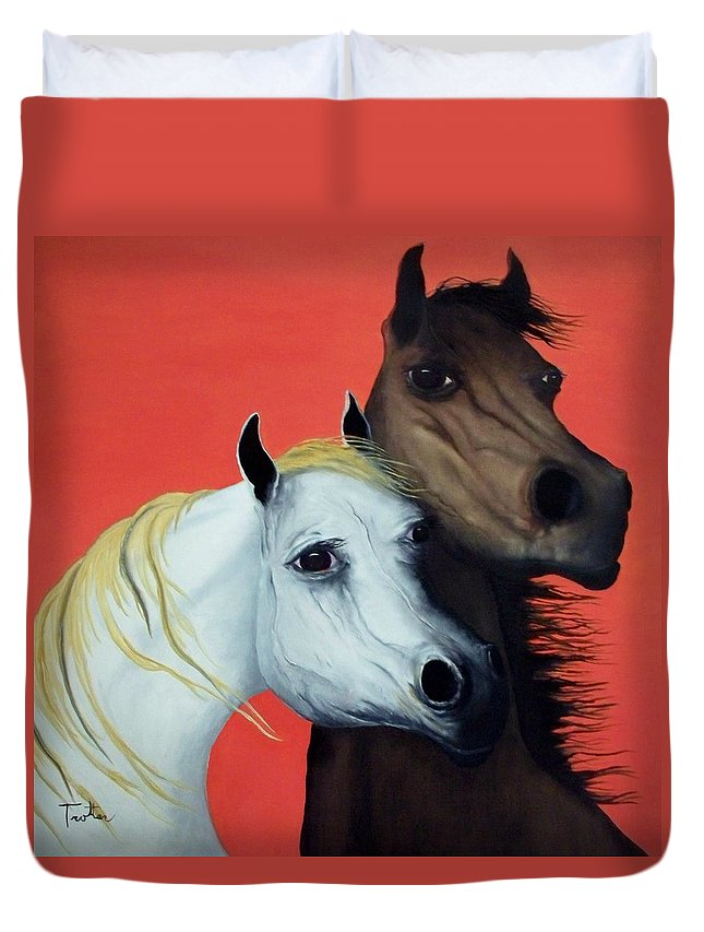 Horse Duvet Cover featuring the painting Horse Lovers in Red SOLD by Patrick Trotter