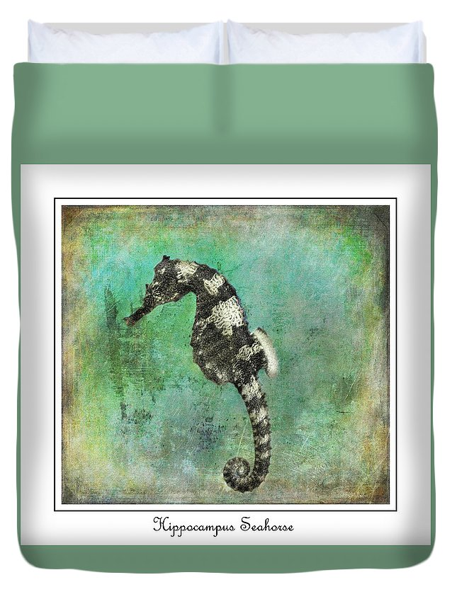 Seahorse Duvet Cover featuring the painting Horse Of The Sea by Barbara Chichester