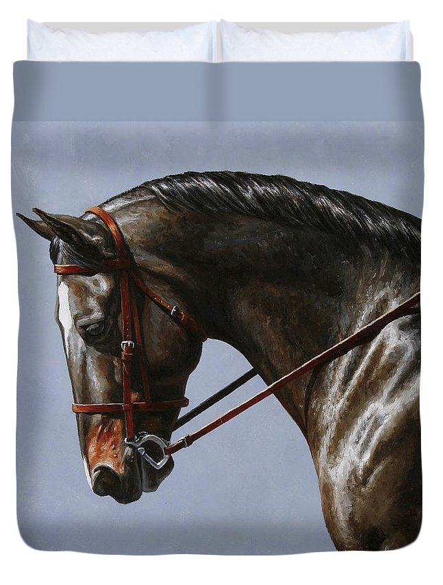Horse Duvet Cover featuring the painting Horse Painting - Discipline by Crista Forest