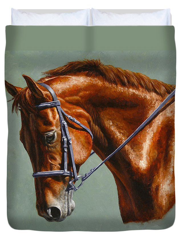 Horse Duvet Cover featuring the painting Horse Painting - Focus by Crista Forest