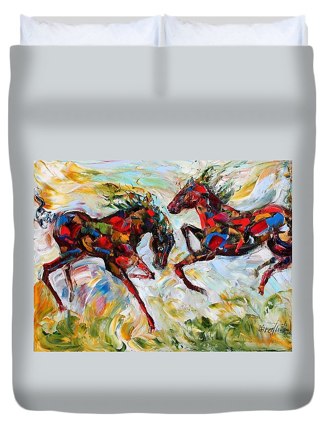 Horse Duvet Cover featuring the painting Horse Play by Karen Tarlton