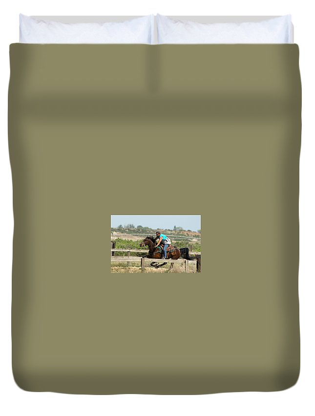 Horses Duvet Cover featuring the photograph Horse Race by Jeff Swan