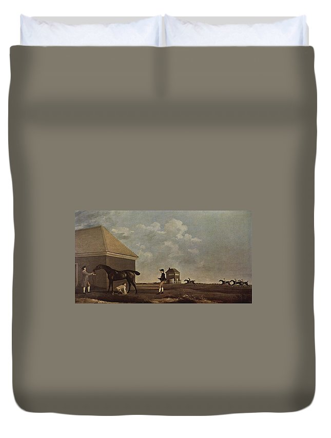 Horse Race Duvet Cover featuring the painting Horse Race by MotionAge Designs