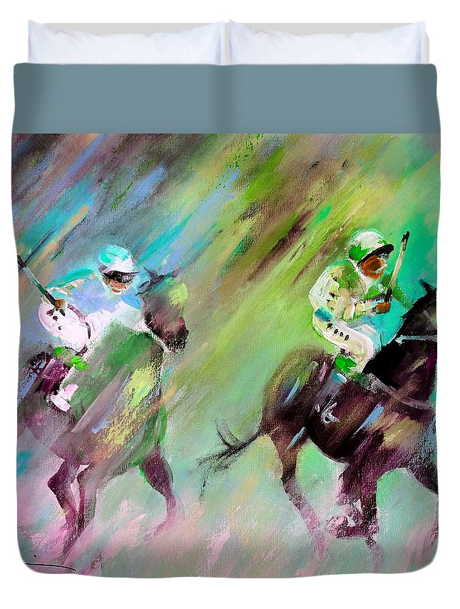 Modern Acrylics Painting In Impressionist Expressionist Style And Vibrant Colours Of Horses Racing Duvet Cover featuring the painting Horse Racing 04 by Miki De Goodaboom