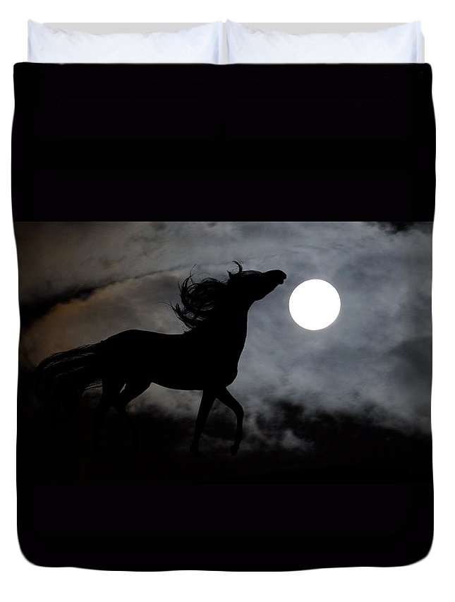 Horse Duvet Cover featuring the photograph Horse Silhoette by FL collection
