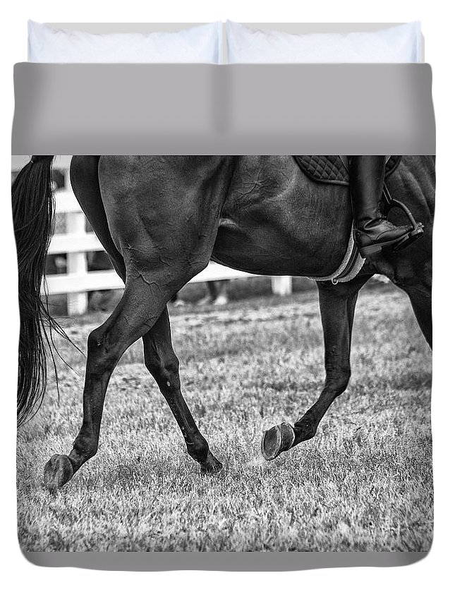 Horse Stepping Duvet Cover featuring the photograph Horse Stepping by Karol Livote
