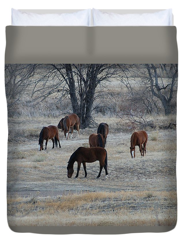 Fields Duvet Cover featuring the digital art Horses by Ernie Echols
