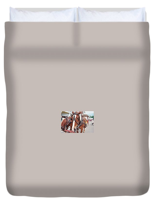 Horses Duvet Cover featuring the photograph Horses by Jo Dawkins