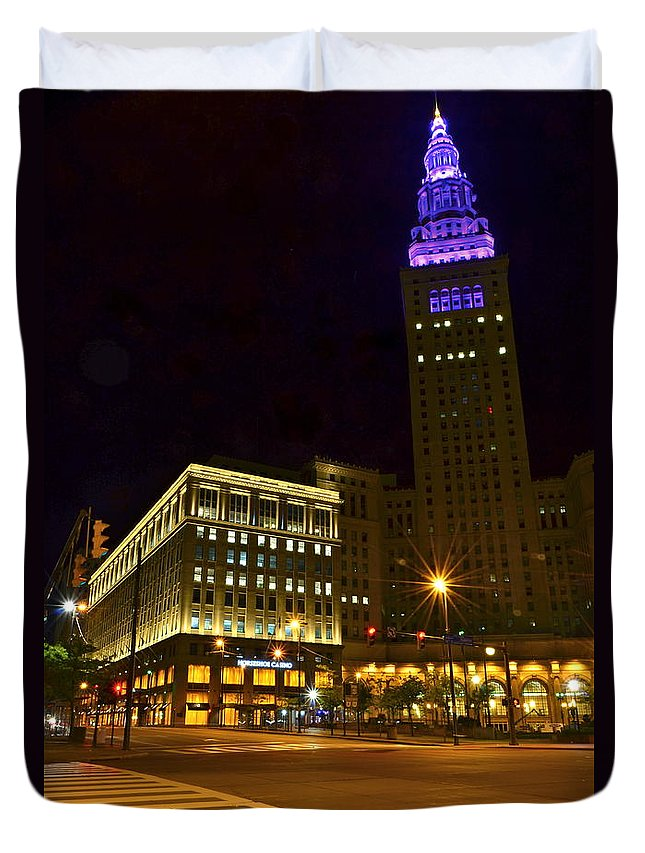 Casino Duvet Cover featuring the photograph Horseshoe Casino Cleveland by Frozen in Time Fine Art Photography