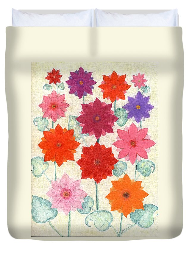Flowers Duvet Cover featuring the drawing Hot Bloom by Greg Roberson