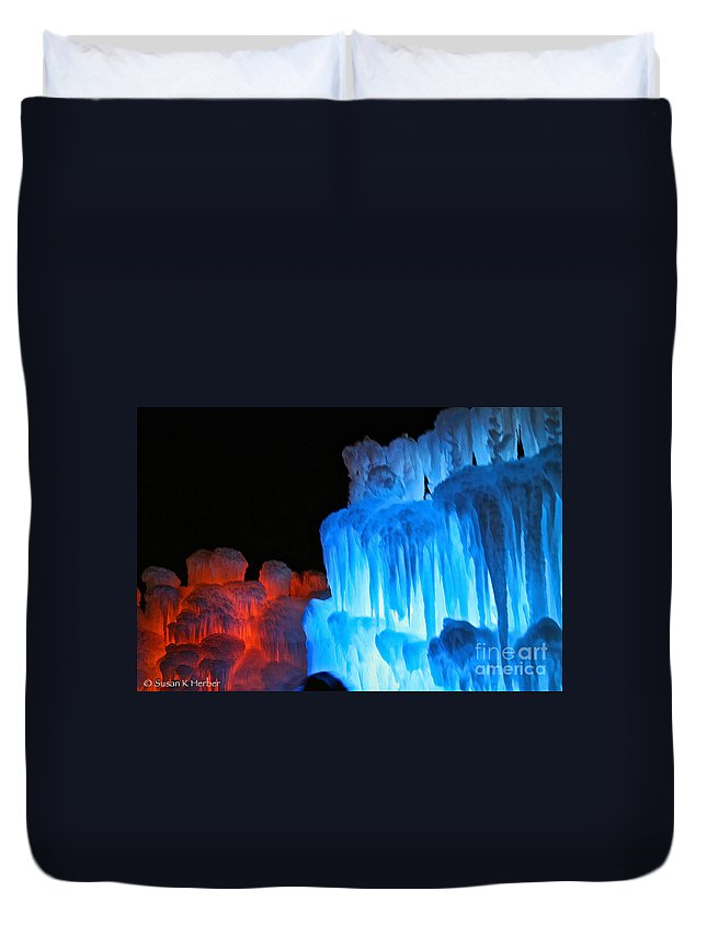 Ice Duvet Cover featuring the photograph Hot Cold by Susan Herber