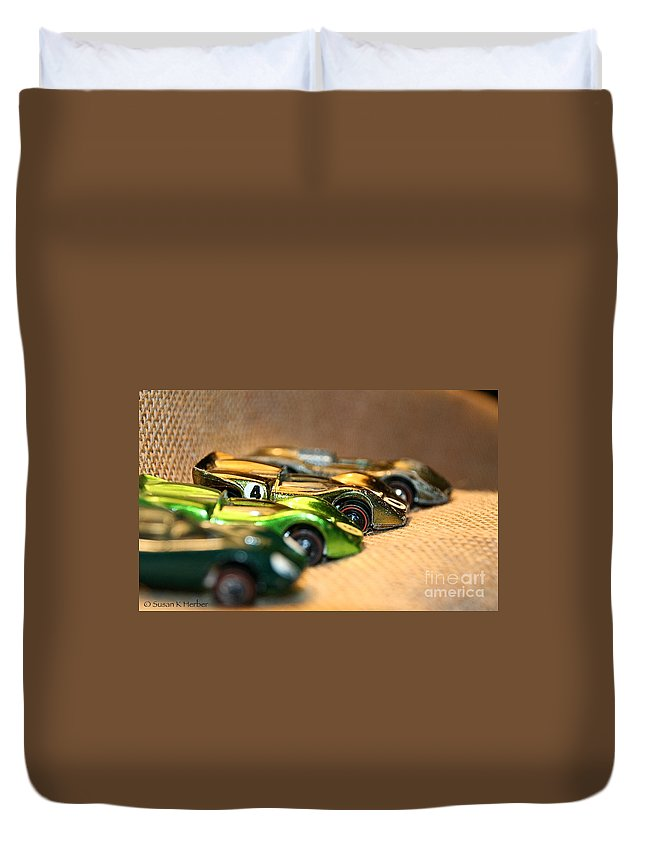 Toy Cars Duvet Cover featuring the photograph Hot Line Up by Susan Herber