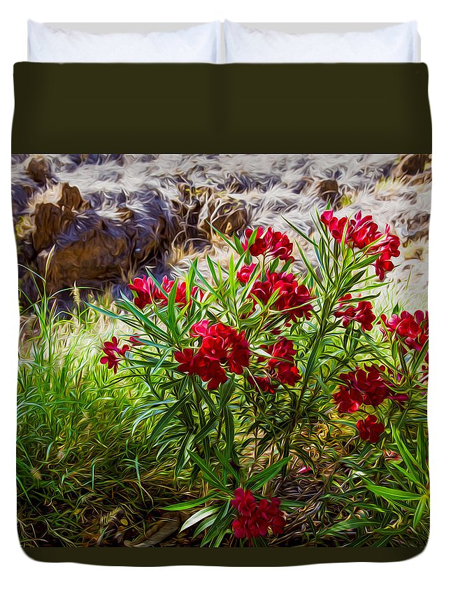 Hot Pink Bushes Duvet Cover featuring the painting Hot Pink Bushes by Omaste Witkowski