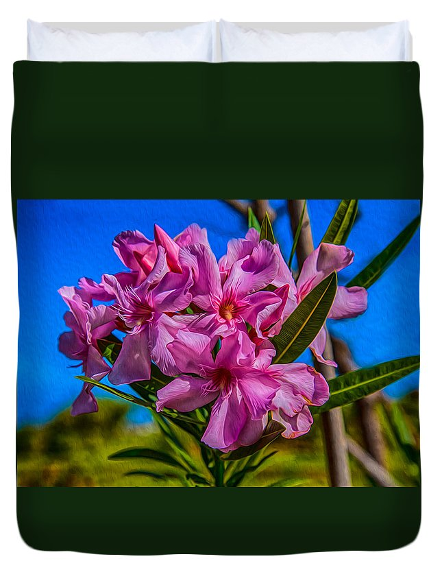 Nature Duvet Cover featuring the painting Hot Pink Hibiscus by Omaste Witkowski