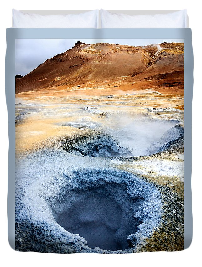 Hot Spring Duvet Cover featuring the photograph Hot Springs At Namaskard In Iceland by Silken Photography