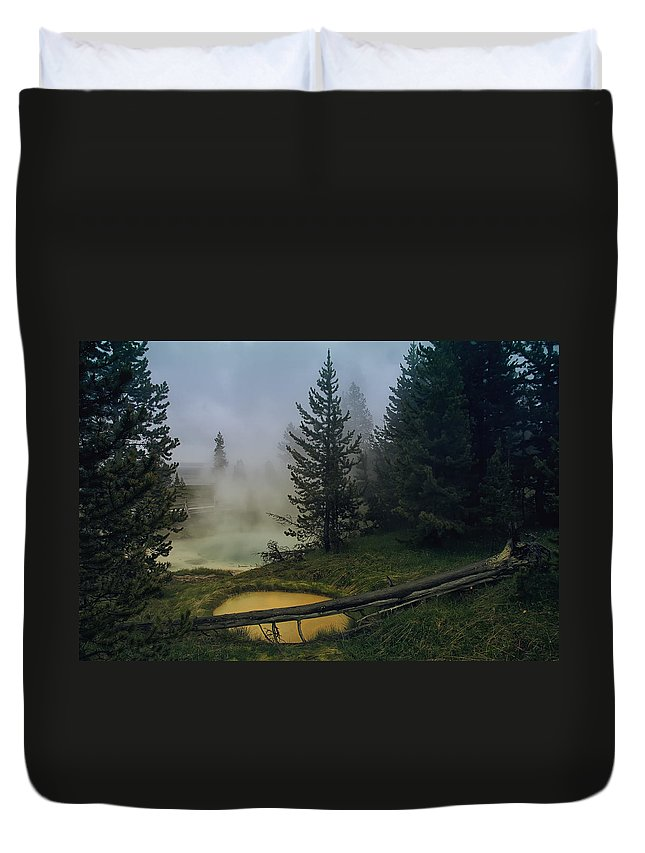 Yellowstone Duvet Cover featuring the photograph Hot Springs At West Thumb by Daniel Hagerman
