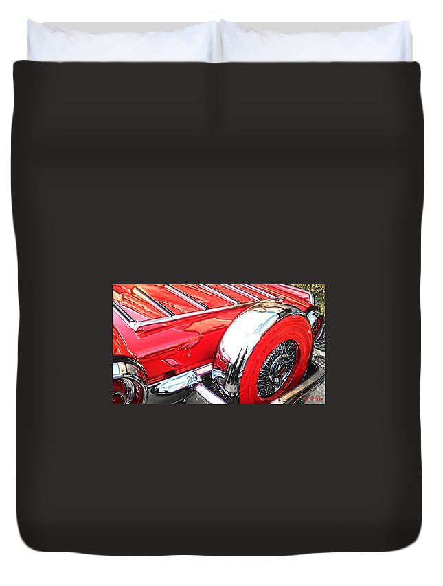 1962 Duvet Cover featuring the digital art Hot T-bird by Alec Drake