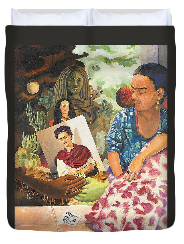Frida Kahlo Duvet Cover featuring the painting Hot Ticket Frida Kahlo Meta Portrait by Susan McNally