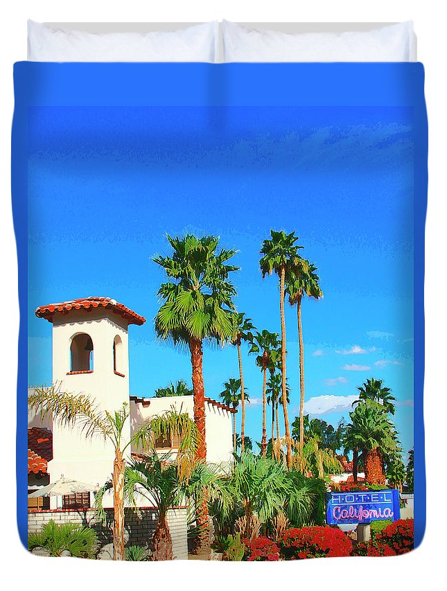 Hotel California Duvet Cover featuring the photograph Hotel California Palm Springs by William Dey