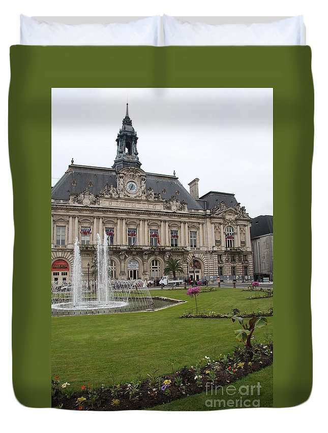 City Hall Duvet Cover featuring the photograph Hotel De Ville - Tours by Christiane Schulze Art And Photography