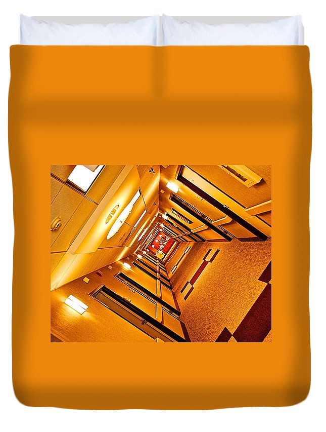 Hotel Duvet Cover featuring the photograph Hotel Hallway by Frozen in Time Fine Art Photography