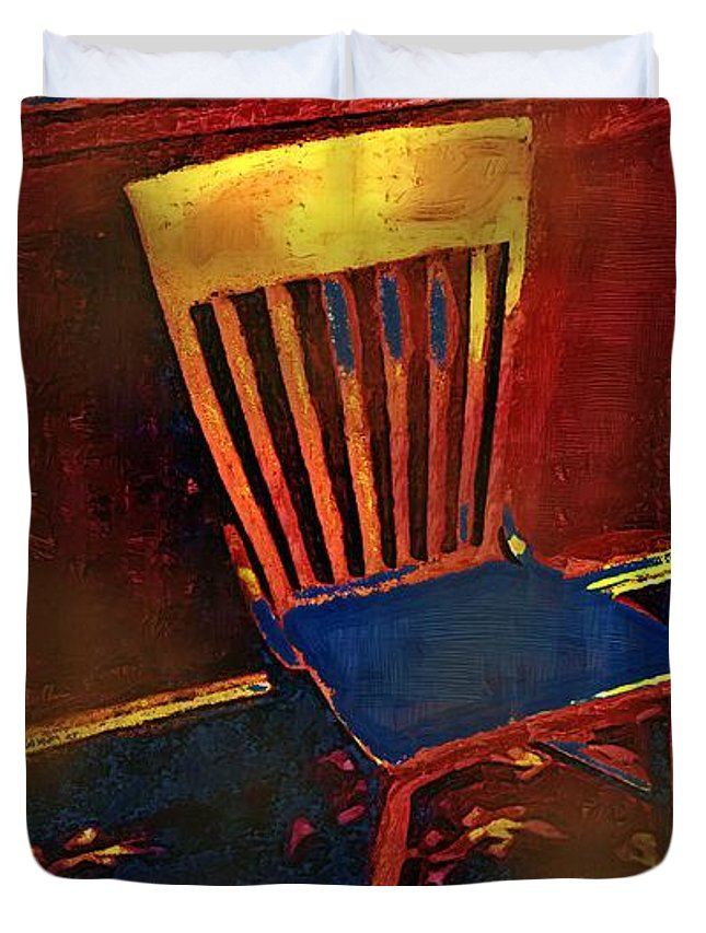 Chair Duvet Cover featuring the painting Hotseat In Hell by RC DeWinter