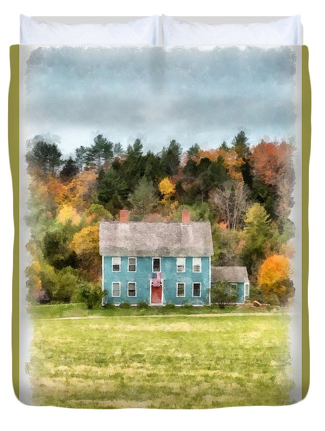 Fall Duvet Cover featuring the photograph House By The Woods by Edward Fielding