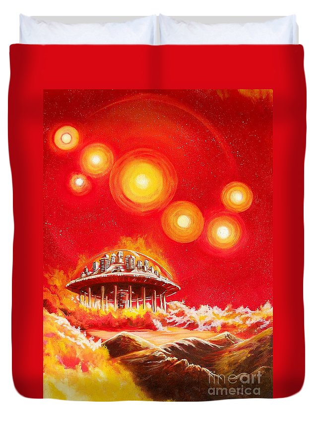 House Duvet Cover featuring the painting House of the Rising Suns by Murphy Elliott