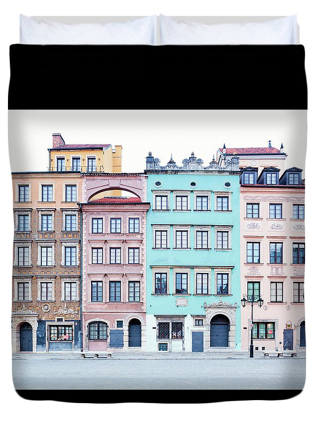 Apartment Duvet Cover featuring the photograph Houses On Old Town Market Place by Jorg Greuel