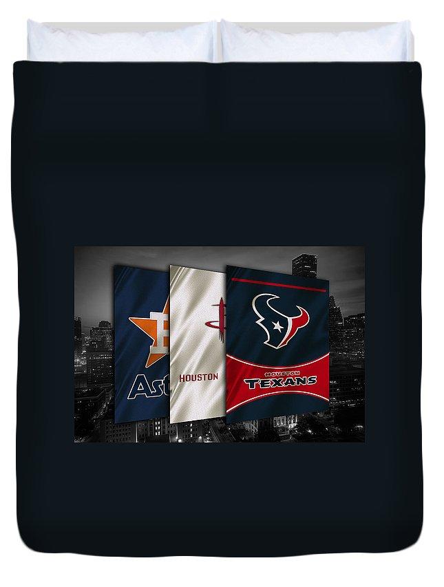 Astros Duvet Cover featuring the photograph Houston Sports Teams by Joe Hamilton