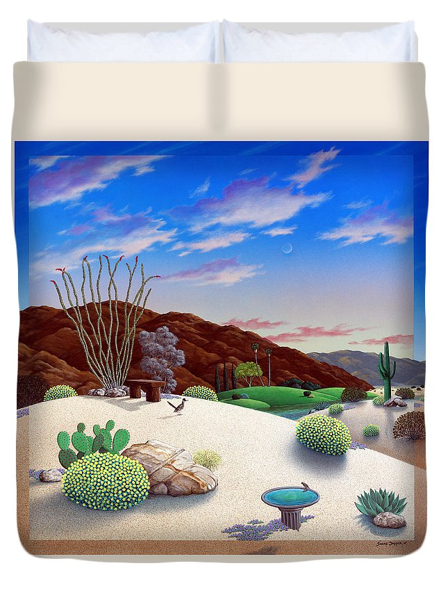 Desert Duvet Cover featuring the painting Howards Landscape by Snake Jagger