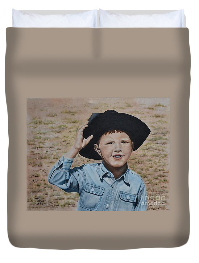 Usa Duvet Cover featuring the painting Howdy Ma'am by Mary Rogers