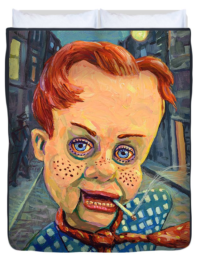 Howdy Doody Duvet Cover featuring the painting Howdy Von Doody by James W Johnson