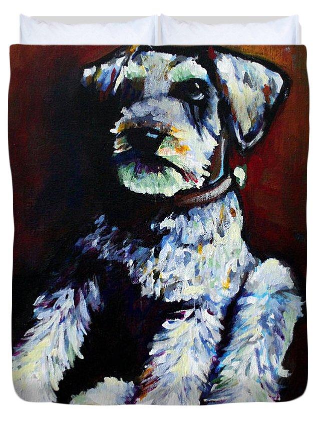 Miniature Schnauzer Duvet Cover featuring the painting Howie by Arleana Holtzmann