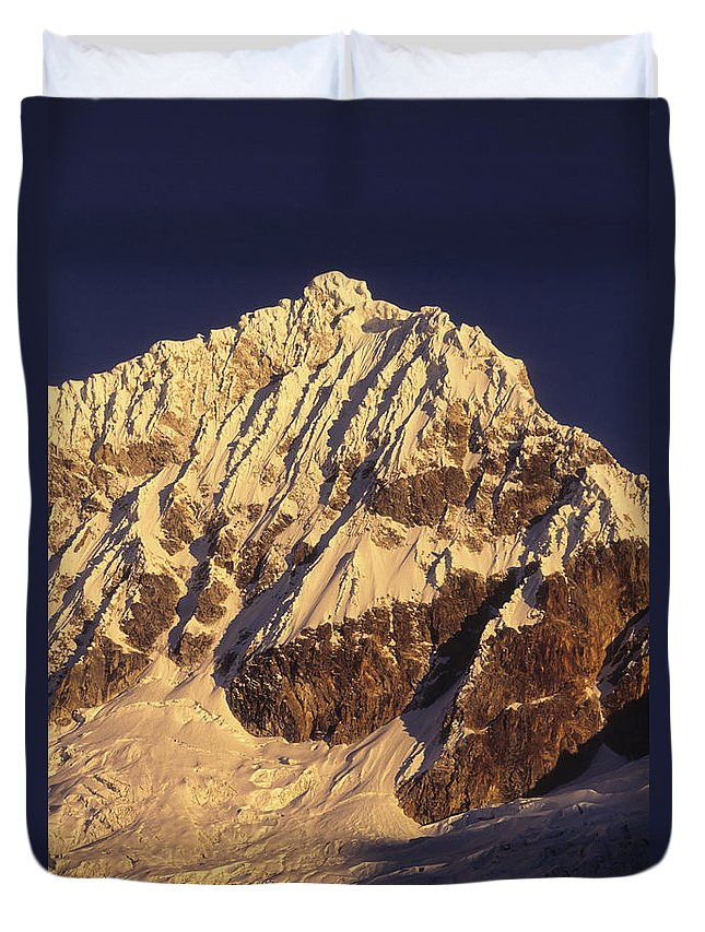 Peru Duvet Cover featuring the photograph Mt Huandoy Sunrise Cordillera Blanca by James Brunker