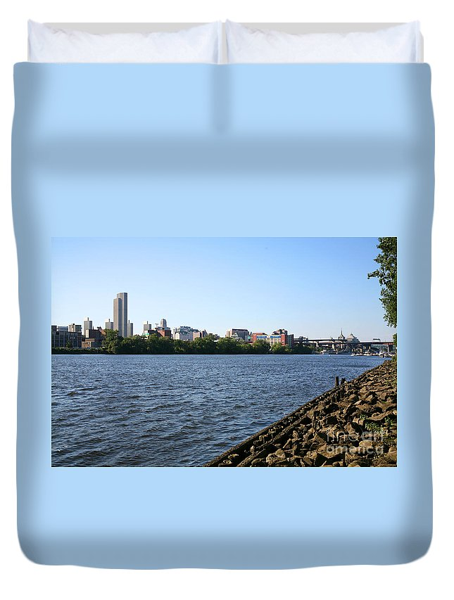 Empire State Plaza Duvet Cover featuring the photograph Hudson River And Albany Skyline by Bill Cobb